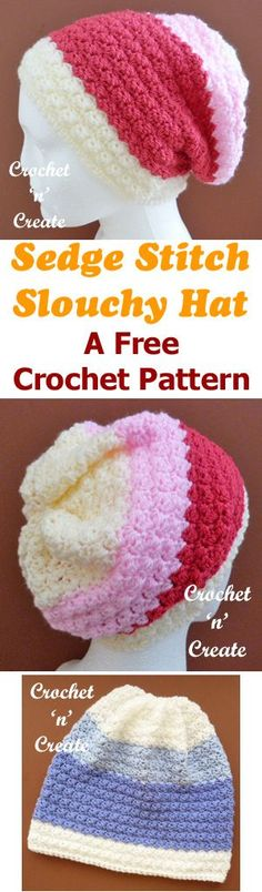 Sedge Stitch Slouchy Hat Free Crochet Pattern - Click here to see more.