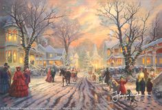 A Victorian Christmas Carol by Thomas Kinkade- Of all the great memories and current impressions I have of this magical time of year, none are more profound than those tied to the era of Charles Dickens. The crisp winter weather with the snap of Jack Frost in the air, the windows glowing welcome, the excitement of children wondering what gifts Santa might bring, and the strong sense of community gained from sharing the joy of the season...I love this time of year...