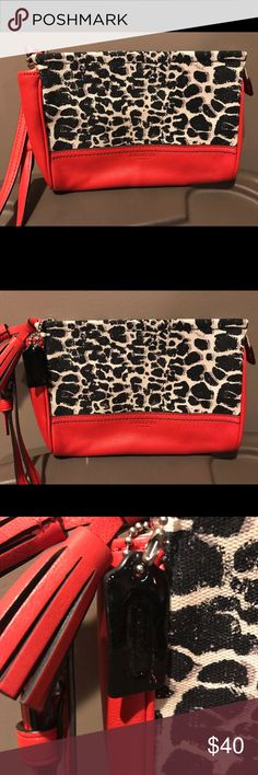 Stylish wristlet! Very stylish coach leopard wristlet with bold coral color.  Brand new; never used! Coach Bags Clutches & Wristlets