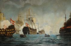 Gunboat war 1801 against Denmark - English and danish gunboats are fighting.