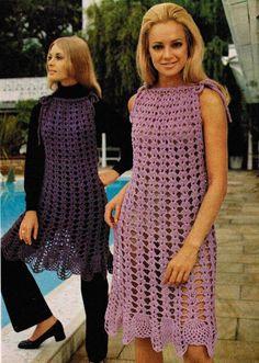 Crochet Pattern PDF File Misses Sleeveless Shift Dress Size Bust 34 Bust 36 Mode Crochet, Crochet Lace, Dress Patterns, Crochet Patterns, Vintage Crochet Dresses, Vestidos Vintage, Vintage Knitting, Crochet Clothes, Vintage Fashion