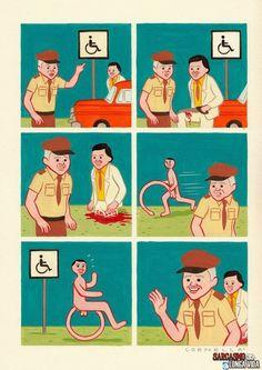 Pra quem ainda não viu, um pouco de humor negro! As loucuras que pessoas talvez fizessem para conseguir uma vaga no estacionamento para deficientes... http://sarcasmolongavida.blogspot.com/2014/06/tudo-por-uma-vaga-no-estacionamento.html #estacionamento #comics #quadrinhos #desenho #humornegro #humor #sarcasmo #ironia #ironicos #blog #madrugada #loucuras #serrote #pernas #pênis #certinho #vagas #carro #guarda #comico #sarcastico #tumblr #deficientes #giromba #girombagrande #cobra #linguiça