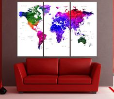 Canvas prints add a unique touch to your home. Modern, stylish and unique design will be the most special piece of your decor. Especially for those who like abstract works, black and white acrylic painting can be prepared in desired sizes  Colorful world map canvas print Push Pin travel map, large world map wll art push pin ready to hang for large wall No:6S02  i designed the watercolor map on photoshop. you will receive high resulation canvas print   ◆ GALLERY WRAPPED CANVASES We print high…