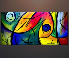 Colorful Abstract Print on Canvas Modern Contemporary Large Art Giclee Print from my previous original painting Ready to Hang Wal Art, Art Techniques, Painting Inspiration, Canvas Wall Art, Modern Art, Art Projects, Street Art, Abstract Art, Fine Art