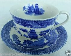 Japan Blue Willow Ware Tea Cup and Saucer 2 piece 1 set Vintage