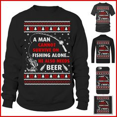 A man cannot survive on fishing alone. He also needs beer. Ugly Christmas sweater for fishing lovers Ugly Xmas Sweater, Christmas Sweaters, Men Sweater, Fishing World, Being Ugly, Beer, Lovers, T Shirt, Fashion