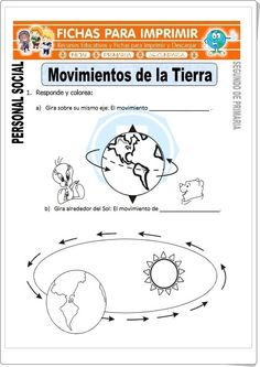 """Movimientos de la Tierra"" (Fichas de Ciencias Sociales de Primaria) Science Notes, Science Experiments, I Love Being Alone, Stem Projects, Spanish Classroom, Sistema Solar, Fifth Grade, Earth Science, Classroom Management"