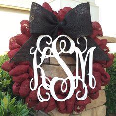 Garnet & Black Burlap Wreath w/ Triple Monogram by LMStoehrDesigns