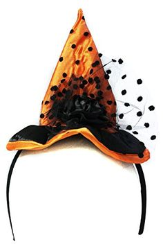 Cool Ladies Halloween Costume Accessory - Orange Witch Hat Headband,  One size fits all (except very small children) Lightweight and comfotable Hat Measures Approximately 8 Inches Tall, http://teensdepot.com/product/ladies-halloween-costume-accessory-orange-witch-hat-headband/ Check more at http://teensdepot.com/product/ladies-halloween-costume-accessory-orange-witch-hat-headband/