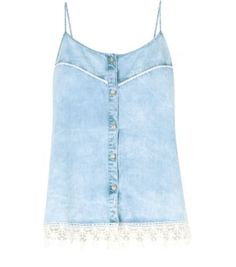 Light Blue Denim Button Front Crochet Hem Cami