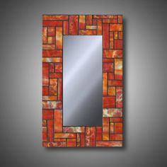 Items similar to Stained Glass Mosaic Mirror - Autumn Orange - Modern Decor - Uroboros Stained Glass x Art Glass - Home Decor - Decorative on Etsy