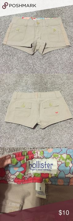 Beige Hollister shorts Beige Hollister shorts, worn a few times. Brand new condition. Super cute!! Smoke free home. Hollister Shorts
