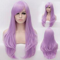 Fashion Light Purple Side Bang Shaggy Lolita Long Wave Synthetic Capless Cosplay Wig