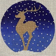 shaded background Reindeer in Blue is an christmas themed needlepoint canvas design by Amanda Lawford available at the Needle Nook of La Jolla. Xmas Cross Stitch, Cross Stitching, Cross Stitch Embroidery, Cross Stitch Patterns, Needlepoint Designs, Needlepoint Kits, Needlepoint Canvases, Needlepoint Stitches, Christmas Knitting