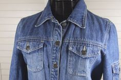 Crazy Horse Jean Jacket Dressy Fitted Distressed Buckle Sides Womens Size Large #CrazyHorse #JeanJacket