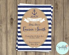Nautical Baby Shower It's a Boy Invitation in Gold and Navy Blue  by Sparklefly Paperie