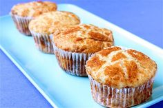 Recipe for Snickerdoodle Muffins, known as Muffadoodles! Made as mini muffins. Very Moist. Kids ate it. Muffin Recipes, Baking Recipes, Paleo Recipes, Sweet Recipes, Snickerdoodle Muffins Recipe, Just Desserts, Dessert Recipes, Yummy Treats, Yummy Food