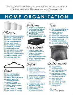 I simplified and organized my house, room by room Home organization and simplify printable checklist, room by room. Some good advice here!Home organization and simplify printable checklist, room by room. Some good advice here! House Cleaning Checklist, Cleaning Hacks, Clean House Schedule, Apartment Checklist, Moving Checklist, Speed Cleaning, Moving Tips, New House Checklist, Household Cleaning Schedule