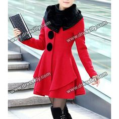 Stunning Style Long Sleeves Worsted Rhinestone Buttons Decoration Women's Coat, RED, 2XL in Jackets & Coats   DressLily.com