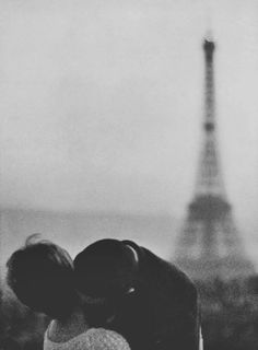 paris, france, love, kiss, black and white, photography