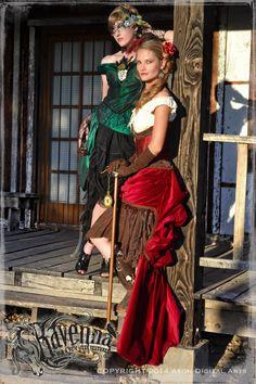 Saloon Girls, Old West Steampunk Steampunk Cosplay, Steampunk Clothing, Steampunk Fashion, Steampunk Dress, Saloon Girl Costumes, Western Costumes, Old West Saloon, Western Saloon, Western Style