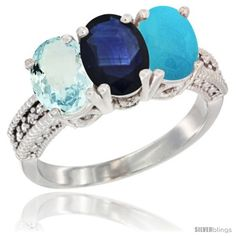 10K White Gold Natural Aquamarine, Blue Sapphire & Turquoise Ring 3-Stone Oval 7x5 mm Diamond Accent