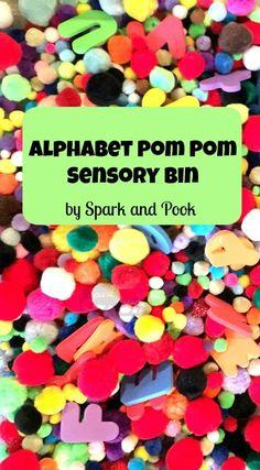 Alphabet Pom Pom Sensory Bin - Spark and Pook