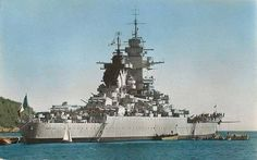 French battleship Richelieu was the lead ship of her class. She was a scaled-up version of the previous Dunkerque class. Notice the Y-shape funnel 2nd mast. (google.image) 7.17 (Color)