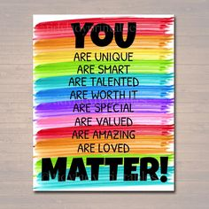 YOU MATTER Classroom Printable Counseling Office Poster | Etsy School Guidance Counselor, School Counselor Office, Classroom Themes, Diy Classroom Decorations, Art Classroom Decor, School Office Decorations, Art Classroom Posters, Inspirational Classroom Posters, Kindergarten Classroom