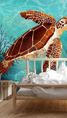 Feel like you're swimming under the ocean with this beautiful Sea Turtle wallpaper mural. Perfect for a calming bedroom, bathroom, living room or even office space! If placed in a bedroom, style with a light wooden rustic bed and crisp white bedding to place full emphasis on the bright colours within the mural. Shop this look and discover the full collection at Wallsauce.com! #bedroominspo #bedroomdecor Sea Turtle Wallpaper, Wall Wallpaper, Bedroom Design Inspiration, Under The Ocean, Cute Turtles, Rustic Bedding, Shell Art, Designer Wallpaper, Wall Murals