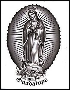 """Virgen De Guadalupe Temporaray Tattoo by Tattoo Fun. $3.95. This is a black and white Temporary tattoo of Our Lady of Guadalupe with a banner under her that reads """"Virgen De Guadalupe"""". It measures approx 3 1/4"""" long x 2"""" wide."""