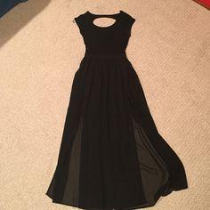 Forever 21 open back dress Black, floor length, zips up in the back, open upper back, lower thigh height slits. Cotton top, chiffon bottom. Forever 21 Dresses Maxi