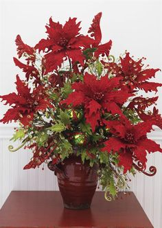 Red Poinsettia with Jewel and Holly Ball Ornamnet Sprays Christmas Poinsettia, Christmas Flowers, Christmas Holidays, Christmas Wreaths, Christmas Crafts, Christmas Flower Arrangements, Christmas Centerpieces, Xmas Decorations, Christmas Wonderland