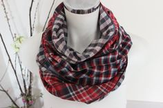 Checkered scarf men Red Navy scarves Handmade by Nazcolleccolors