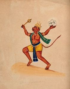 Hanuman. Gouache drawing. | Wellcome Collection Ram Hanuman, Neem Karoli Baba, Holy Symbol, Lord Shiva Family, Wellcome Collection, Hindu Dharma, Digital Art Fantasy, Shiva Shakti, Hindu Deities