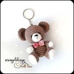 Crochet Keychain Pattern, Crochet Amigurumi Free Patterns, Crochet Dolls, Teddy Bear Patterns Free, Crochet Projects, Handmade, Keychains, Ceramic Flowers, Crochet Animal Amigurumi