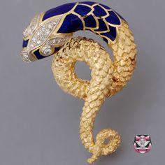 Signed Vintage Diamond Snake Pin