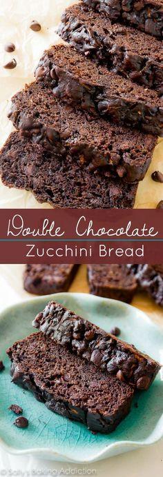 Double Chocolate Zucchini Bread. Less oil more Greek yogurt. Super moist and FULL OF CHOCOLATE!