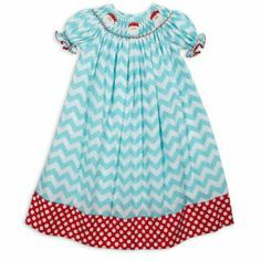 So cute! Love this Aqua Chevron Red Dot Santa Smock Dress for $38.00. Available at lollywollydoodle.com.