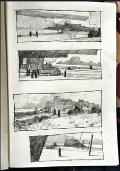 Stunning sketchbook work by the concept artist - Ian McQue I've always loved these kinds of drawings Drawing Sketches, Art Drawings, Pencil Drawings, Thumbnail Sketches, Arte Sketchbook, Landscape Drawings, Landscapes, Landscape Paintings, Sketchbook Inspiration