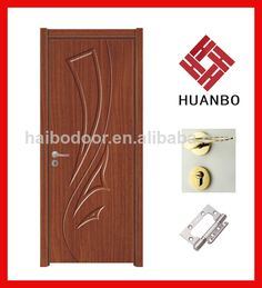 Carve Interior MDF Laminate PVC Door, made of MDF wood, surface coating PVC film. High quality and cheap