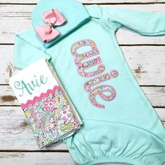 efb9ec125bb7 Girl Coming Home Outfit Baby Gown Bow - Baby Girl Bring Home Outfit - Mint  Sleeper With Bow - Unique Baby Clothes - Monogrammed Baby Gown