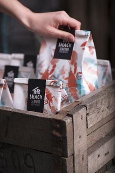A visual identity and packaging design by Backbone Branding studio for seafood restaurant, The Shack. Brand design doesn't need to be expensive. Candy Packaging, Bakery Packaging, Food Packaging Design, Coffee Packaging, Packaging Design Inspiration, Branding Design, Packaging Ideas, Burger Packaging, Design Agency