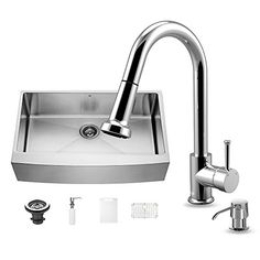 Kitchen Cabinets Ideas | VIGO 36 inch Farmhouse Apron Single Bowl 16 Gauge Stainless Steel Kitchen Sink with Harrison Chrome Faucet Grid Strainer and Soap Dispenser -- You can get additional details at the image link.(It is Amazon affiliate link) #culturegram