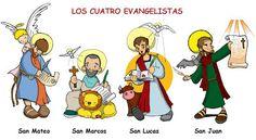 Dibujos para catequesis: LOS CUATRO EVANGELISTAS: SAN MATEO, SAN MARCOS, SAN LUCAS Y SAN JUAN