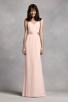 Long V Neck Crepe Gown with Open Back VW360195- david's bridal- comes in gold
