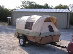 DIY tent trailer -this is a truck bed tent on a trailer. If you click through to the link he explains how he did it so that all he has to do is lay the bows down flat without having to disassemble the tent Tent Camping Beds, Truck Camping, Diy Camping, Outdoor Camping, Camping Ideas, Glamping, Camping Signs, Camping Stove, Truck Bed Tent