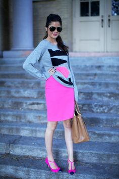 Neon pink and grey