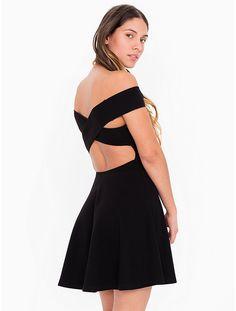 Ponte Off Shoulder Crossback Skater Dress