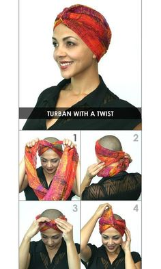 hair wrap scarf tutorial How to Tie a headscarf - Turban with a Twist.Your Mom had to learn all these tricks after she had radiation for 7 weeks (March All her hair fell out, in the morning her pillow was full of hair. Turban Mode, Tie A Turban, Hair Wrap Scarf, Natural Hair Styles, Short Hair Styles, Head Scarf Tying, Head Scarf Styles, Hair Falling Out, Turban Style